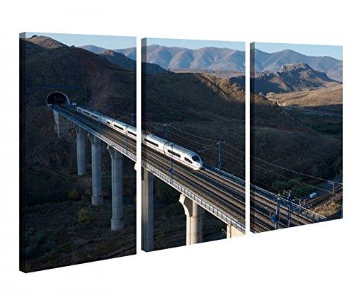 Leinwandbild 3 Tlg Zug high speed Brücke Berg schnell ICE Leinwand Bild Bilder Holz fertig gerahmt 9P1047, 3 tlg BxH:120x80cm (3Stk 40x 80cm) - Iii Gerahmt Leinwand