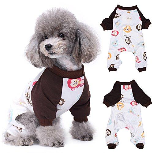jianfeng Lovely Dog Nachtwäsche Colorful Monkey Print Hund Overall Puppy Nachtwäsche Schlafanzüge Pet (Affen Muster Kostüm Baby)