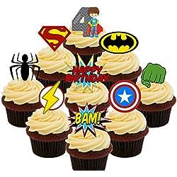 4th cumpleaños Superhero Cupcakes Comestible stand-up barquillo–Decoración para tartas, Pack of 72