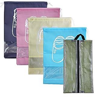 5 Stück Travel Schuhe Taschen,SENHAI 1 Wasserdicht Oxford Schuh Lagerung Organizer mit Reißverschluss + 4 Beutel mit Kordelzug, für Gym Herren Frauen, tragbar und zusammenklappbar