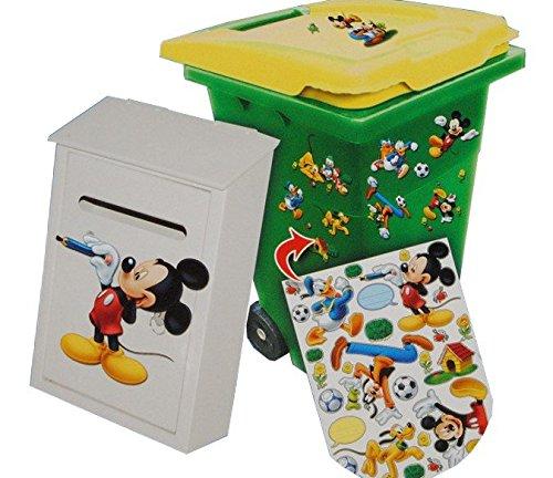 28 tlg. Set Aufkleber für Mülltonne + Briefkasten - Disney Mickey Mouse Donald - Wasserfest Sticker