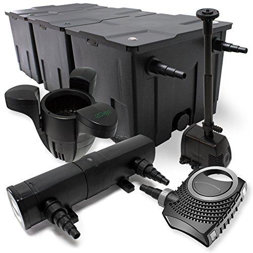 WilTec Kit de Filtration Bassin 90000l 80W Pompe Sterilisateur UVC 18W Fontaine Ecumeur