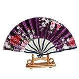 ChicEver Schöner Fächer/Handfächer aus Bambus & Seide in blau lila, Blumen, Handarbeit, 6962