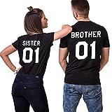 Die besten Brother T Shirts - JWBBU Sister Brother T-Shirt Pärchen T-Shirt Set für Bewertungen