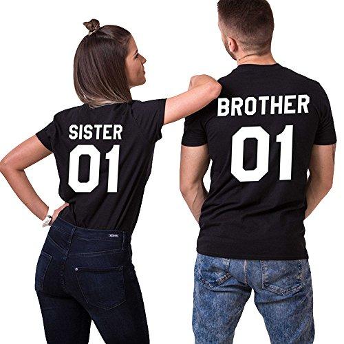 JWBBU Sister Brother T-Shirt Pärchen T-Shirt Set für Zwei Couple Shirt Baumwolle Schwaz Weiß Casual Oberteil Kurzarm Geschenk 2 Stücke (brother-2XL+Sister-S, Schwarz+Schwarz)