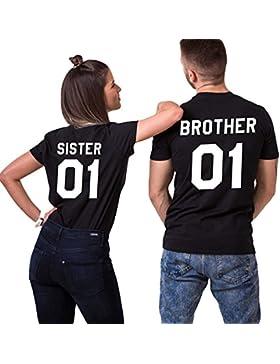 Sister Brother T-shirt Pärchen T-Shirt Set für Zwei Couple Shirt Baumwolle Schwaz Weiß Casual Oberteil Kurzarm...