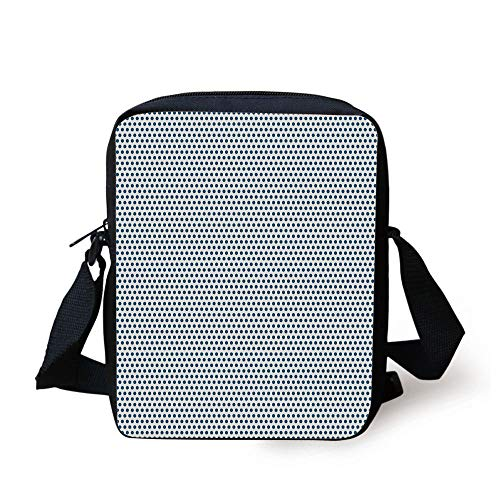 Designer Inspired Bag Purse Handtasche (CBBBB Vintage,Retro Polka Dots Navy Blue Circles Pop Art 50s 60s Picnic Inspired Image,Dark Blue and White Print Kids Crossbody Messenger Bag Purse)