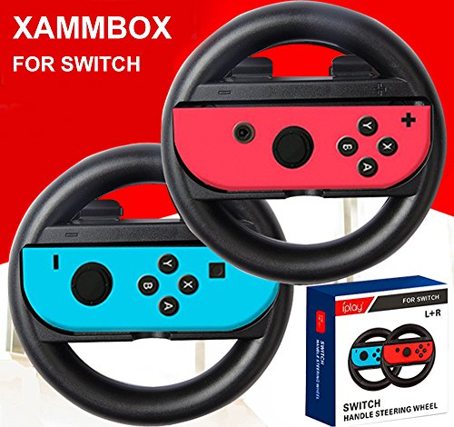 xammbox Lenkrad Griff für Nintendo Schalter Konsole Racing Wheel Joy-Con Grips Griff für Nintendo Nintendo Switch Mario Kart 8 Schwarz (8 Wheel Mario Racing Kart)