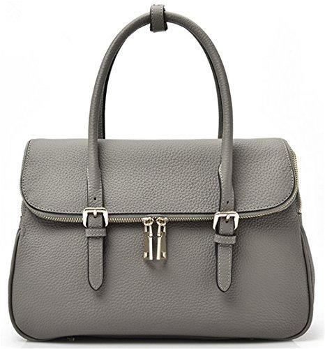 Xinmaoyuan Borse donna vera pelle borsa a tracolla Borsa donna semplice vera pelle con guscio duro Bag,grigio Nero