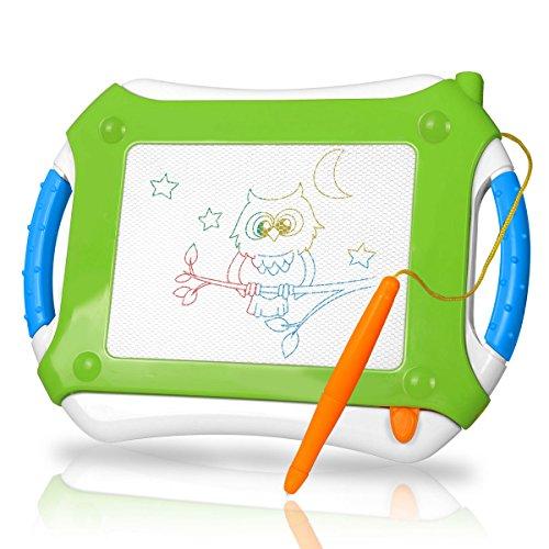 Verdicktes Zaubertafel Kinder TTMOW Maltafel für Kinder ab 2 ab 3 mit Magnetische Stempel, Lerntafel Reißbrett Kindergeschenk, Hinzugefügter Bereich für Malerei (Grün)