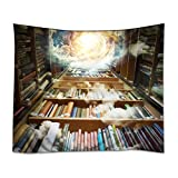 YISUMEI - Tappeto da Parete, 150 x 130 cm, con Immagine di Biblioteca