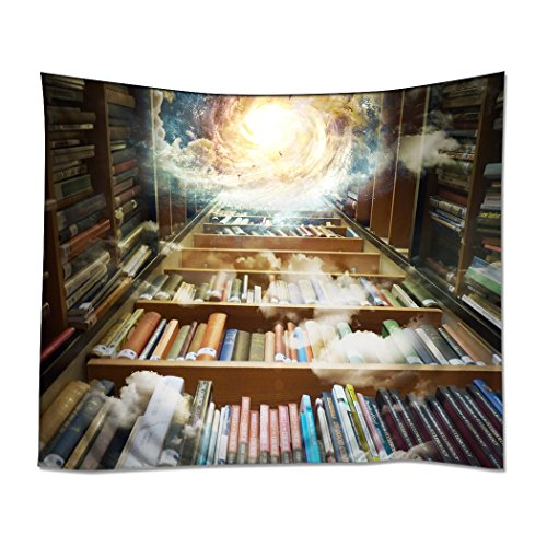 YISUMEI 150x130 cm Tapisserie Wandteppich Wandbehang Tabelle Vorhang Wand Decor Tisch Couch Bezug Picknick Decke Beach Überwurf Bibliothek Bücherregal Bücher Wissen Galaxy - Bibliothek Bücherregal