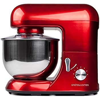 Andrew James Electric Food Stand Mixer In Stunning Red Includes Splash Guard 5.2L Bowl And Spatula