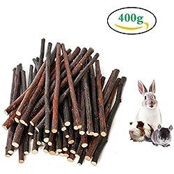 400 g (14 oz) de Apple Sticks, rama de manzana natural Pet Meriendas Chew Toy, molar y dientes de molienda de juguete para pequeños animales conejos, Chinchillas, Hamsters, conejillos de Indias (sobre 100-140 palos) por HongYH