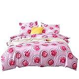 Stillshine Bettwäsche Set Pflanzen Frucht Muster Bettbezug und Kissenbezug 3 Teiliges 100% Polyesterfaser (Wassermelone, 220 x 240 cm)