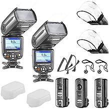 Neewer® NW-985C E-TTL 4-Colore TFT Schermo *Sincronizzazione ad Alta Velocità* Kit Flash Secondario Speedlite Fotocamera per Canon EOS 700D/T5i 650D/T4i 600D/T3i 1100D/T3 550D/T2i 500D/T1i 100D/SL1 400D/XTi 450D/XSi 300D/Digital Rebel 20D 30D 60D 5D Mark III 5D Mark II e altre Fotocamere Canon DSLR, include: (2)NW985C Flash + (1)2.4GHz Wireless Trigger (1 Trasmettitore, 2 Ricevitori)+ (2)Cavi (C1-Cavo + C3-Cavo) + (2)Soft Flash Diffusore + (2) Custodia copriobiettivo