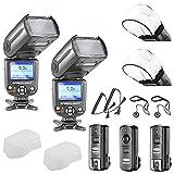 Neewer® NW-985C E-TTL 4-Farb-TFT-Bildschirm Display * Breitband-Sync * Kamera Slave Blitz Speedlite Set für Canon EOS 700D / 650D T5i / T4i 600D / 1100D T3i / T3 550D / 500D T2i / T1i 100D / 400D SL1 / XTi 450D / XSI 300D / Digital Rebel 20D 30D 60D 5D Mark III 5D Mark II und alle anderen Canon DSLR-Kameras, umfasst: (2) NW985C Blitz (1) 2,4 GHz Funk-Ausloeser (1 Sender, 2 Empfänger) + (2 ) Kabel (C1-KabelC3 KabelKabel) + (2) Soft-Blitz-Diffusor + (2) Objektivdeckelhalter