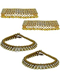 High Trendz Combo Of Two Bollywood Style Ethnic Gold Plated Anklets With Ghungroos, Cz Stones And Kundan Studded... - B06XJ67MBD