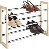 #9: Whitmor Stackable Wood Expandable Shoe Rack (Silver)