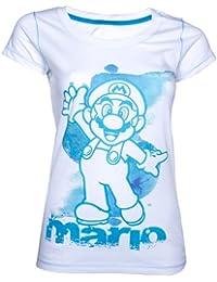 Nintendo Mario Aquarell T-Shirt (Damen) -L- Weiss [import allemand]