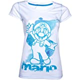 Cheapest NINTENDO Super Mario Brothers Female Skinnie Shirt (XL, White/Blue) on Clothing