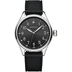 SONGDU Men's 9206 Mint Collection Ultra-Thin Designed Watch with Silicone Strap Band and Black Dial