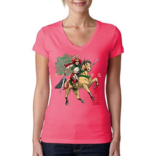 Fun Girlie V-Neck Shirt - Horseback Samurai by Im-Shirt Light-Pink