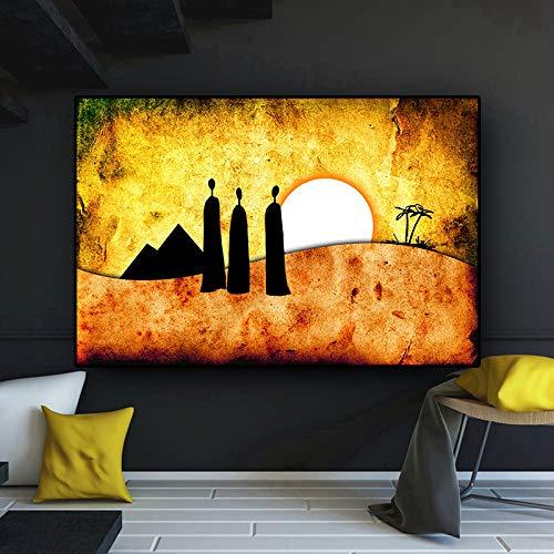 RTCKF Pittura a Olio Astratta del Personaggio del Paesaggio Africano in Oro su Poster di Tela e Stampe murali in Soggiorno (Senza Cornice) A6 60x90cm