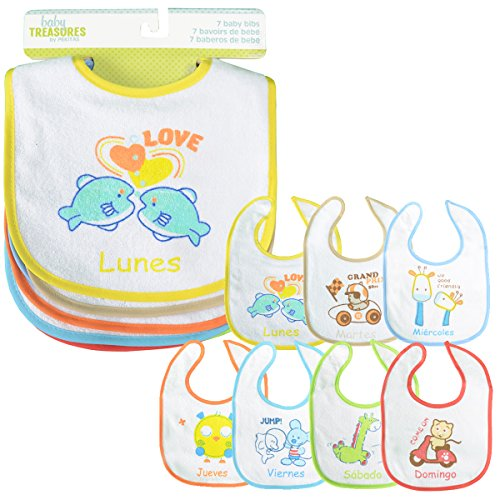 PEKITAS Pack 7 Baberos Para Bebe Impermeable Cierre Suave Algodón Tamaño 28 cm x 21 cm