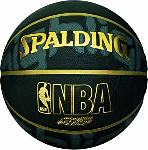 Spalding Men's Outdoor Basketball - Black/Gold, Size 7