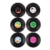 Clock Vajilla Placemat 6 UNIDS Round Vinyl Coaster Record Copa Bebidas Holder Mat (Dos Juegos)