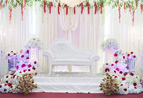 vrupi Fantasy Indoor Floral Wedding Photo Booth Backdrop 7x5ft Vinyl Graceful Floral Stage White Sofa Bouquets White Curtain Red Carpet Background Bridal Shower Bride Groom Portrait Event Shoot