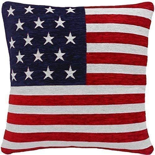 2 X STERNE UND STREIFEN, AMERIKANISCHE FLAGGE, CHENILLE, ROT/WEISS/BLAU, 45.72 CM KISSENBEZUG (Sterne Blau Rot Weiß)