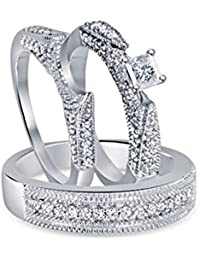Silvernshine 1.30 Ct Diamond 14k White Gold Fn Engagement Wedding Bride & Groom Set Trio Ring