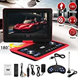 Yissma Tragbar DVD Player Auto 7-inch mit 5 Stunden Akku Mobiler DVD Player Potable Drehbarer Unterstützt SD/USB/AV Out/IN Spiele Joystick -