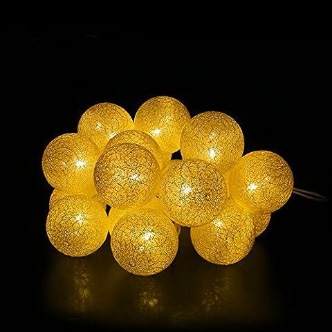 E-foxer stringa LED si illumina 14,85 Piedi cotone luci della stringa sfera stellata, sfera Fata Luce per Giardino festa di nozze di Natale Capodanno decorazione dell'interno (Warm White) - Led Si Illumina Di Nozze