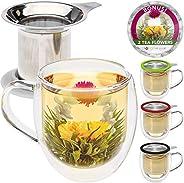 Teabloom Tazza in Vetro a Doppia Parete con Infusore & Coperchio + 2 Deliziosi Fiori di tè - Tazza da 450