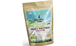 [REBAJA] TheHealthyTree Company Proteína de Suero Orgánico en Polvo de 300g (sin sabor) - Alta contenido de aminoácidos y BCAAs - 80% de whey proteína orgánica pura de vacas alimentadas con pasto