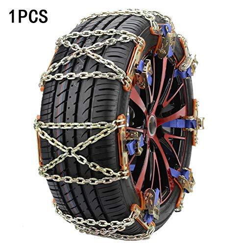 1PC Catena da neve antiscivolo per pneumatici per auto - Dispositivo di trazione per pneumatici di fango e sabbia per auto e piccoli SUV Catene di pneumatici in lega Catena da neve Pneumatico da nev