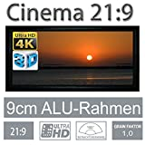 HiViLux Rahmen Leinwand Gain 1,0 Weiss Tuch aus Referenz Kinofolie/3D/4K/UHD/ALU Rahmen/Kein Glitzereffekt o.Hotspot (21:9 Bild:411x175cm 176