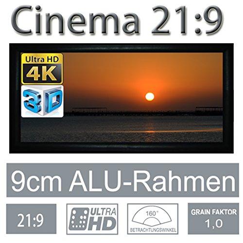 "HiViLux Rahmenleinwand Gain 1,0 Weiss Tuch aus professionell Kinofolie/3D/4K/UHD/ALU Rahmen/Kein Glitzereffekt o.Hotspot (21:9 Bild:323x137cm 138"" Rahmenstärke 9cm)"