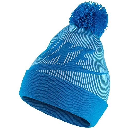 Nike Womens Ribbed Knit Removable Pom Beanie Hat Blue O/S - Ribbed Knit Beanie