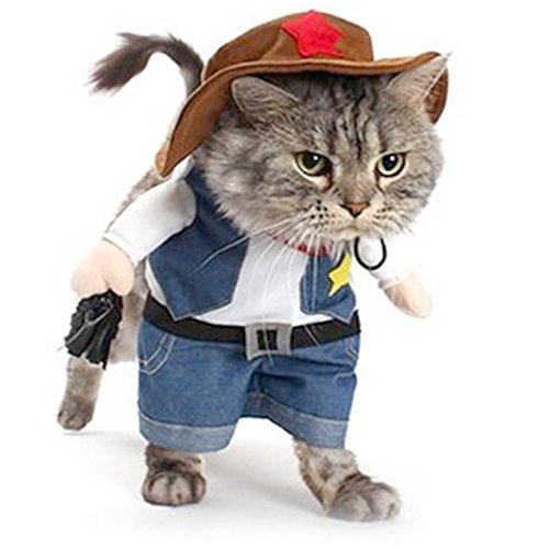 Cat Cowboy Kostüm - Meeyou Cowboy Pet Kostüm für Cat & Dog Cosplay, L