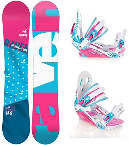 Snowboard Set: Snowboard Raven Style Rocker 2017 + Bindung Raven Heart Pink/Blue S/M