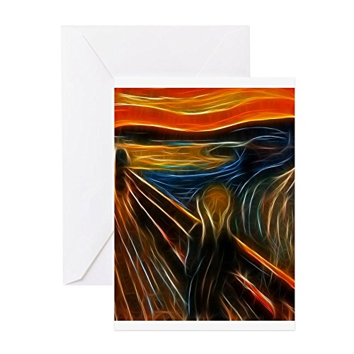 CafePress–The Scream Fractal Gemälde Edvard Munch Grußkarte–Grußkarte, Note Karte, Geburtstagskarte, innen blanko, (Maler Kostüme Halloween)