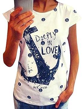 Highdas Las Mujeres de Verano de Manga Corta Camiseta Tops Tee Las Señoras de Anclaje Impresión Lema de La Blusa...