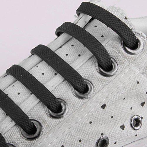 Leorx-Lacci elastici per sneaker, in silicone, per bambini, confezione da 12, colore: nero