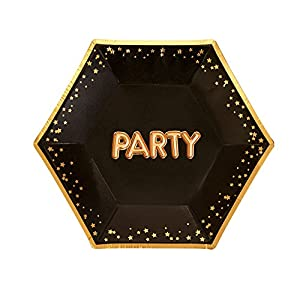 Neviti- Glitz and Glamour Party Platos de papel, Color black/gold, Medium (773277)