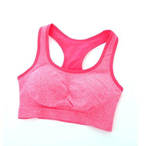 ESHOO Femmes Soutien-gorge Sans couture Racerback Rembourré Brassière de Sport Yoga Fitness Stretch Workout Débardeur Rouge