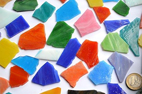 300g, (ca. 50-60St.)Tiffany-Glas Bruchmosaik Steine unbearbeitet bunt